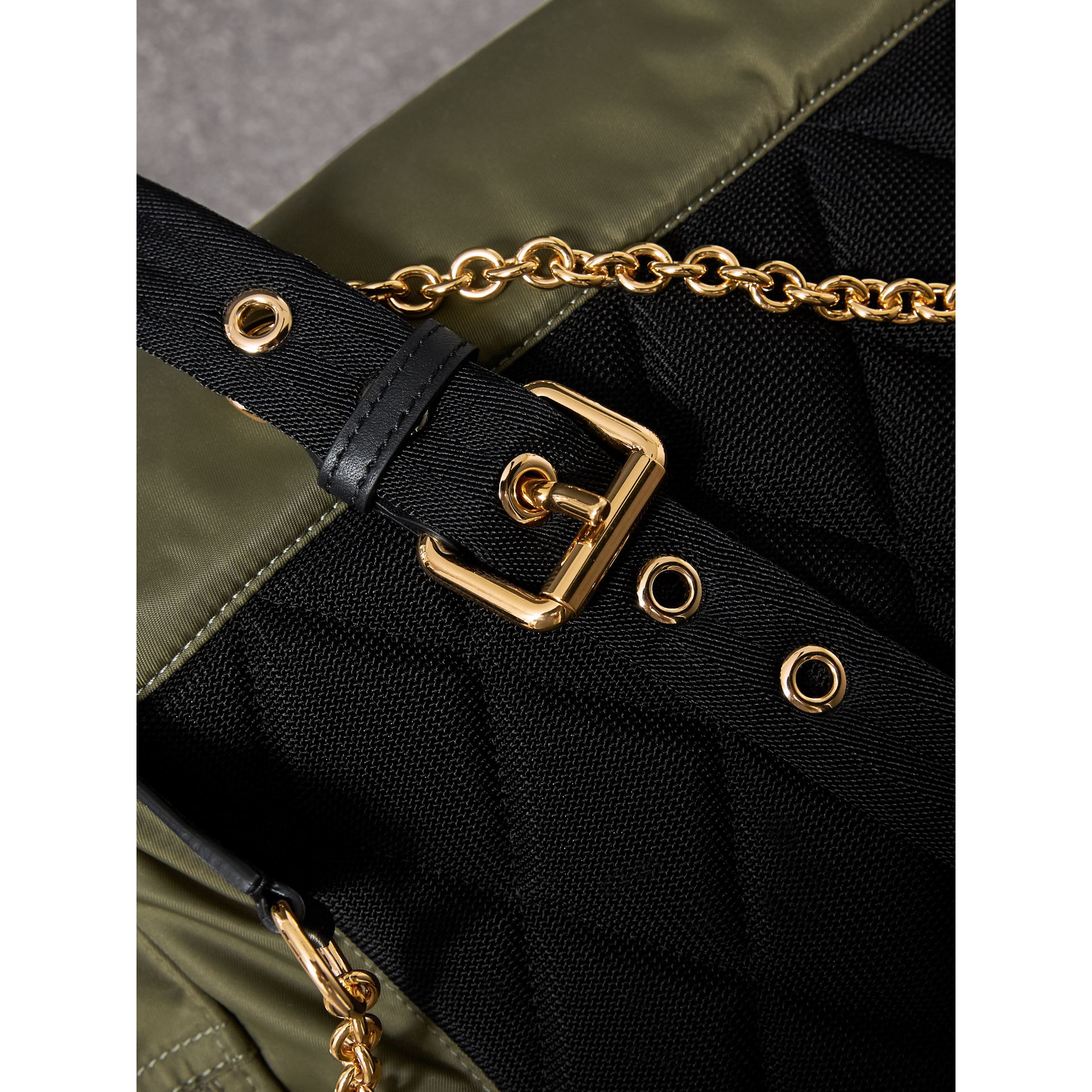 The Large Rucksack in Technical Nylon and Leather in Canvas Green - Women | Burberry United Kingdom - gallery image 5