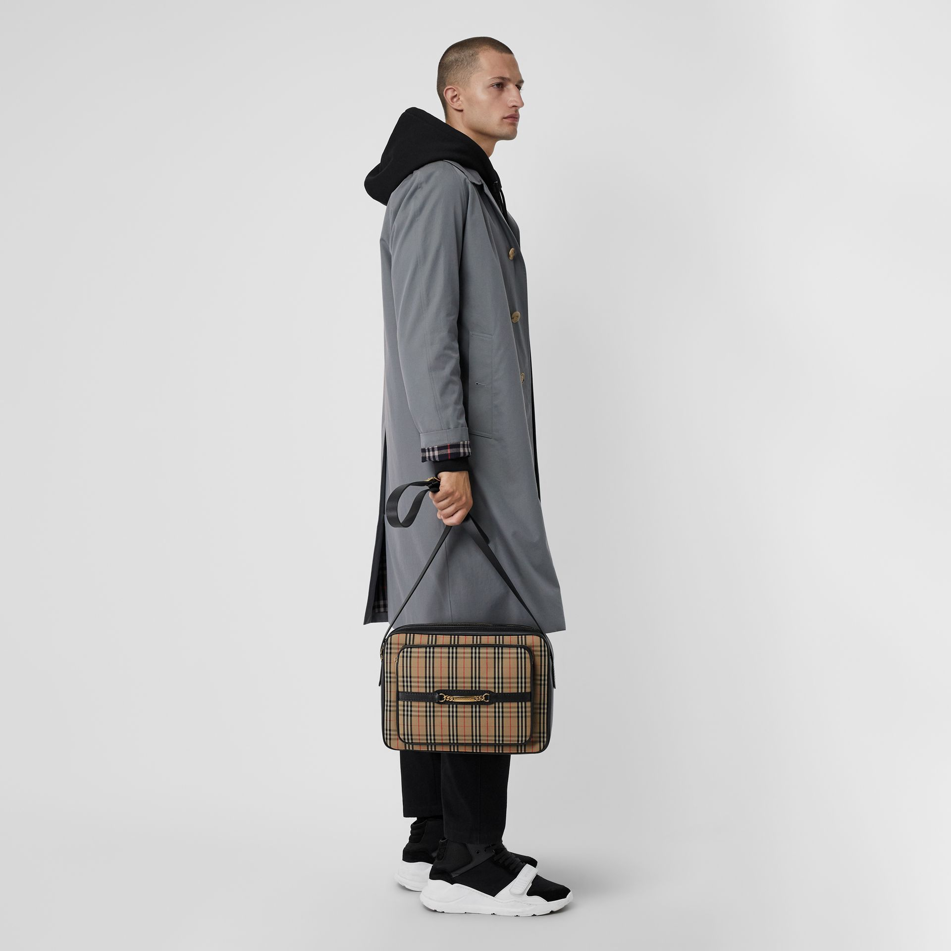 The Large 1983 Check Link Camera Bag in Black - Men | Burberry United Kingdom - gallery image 2