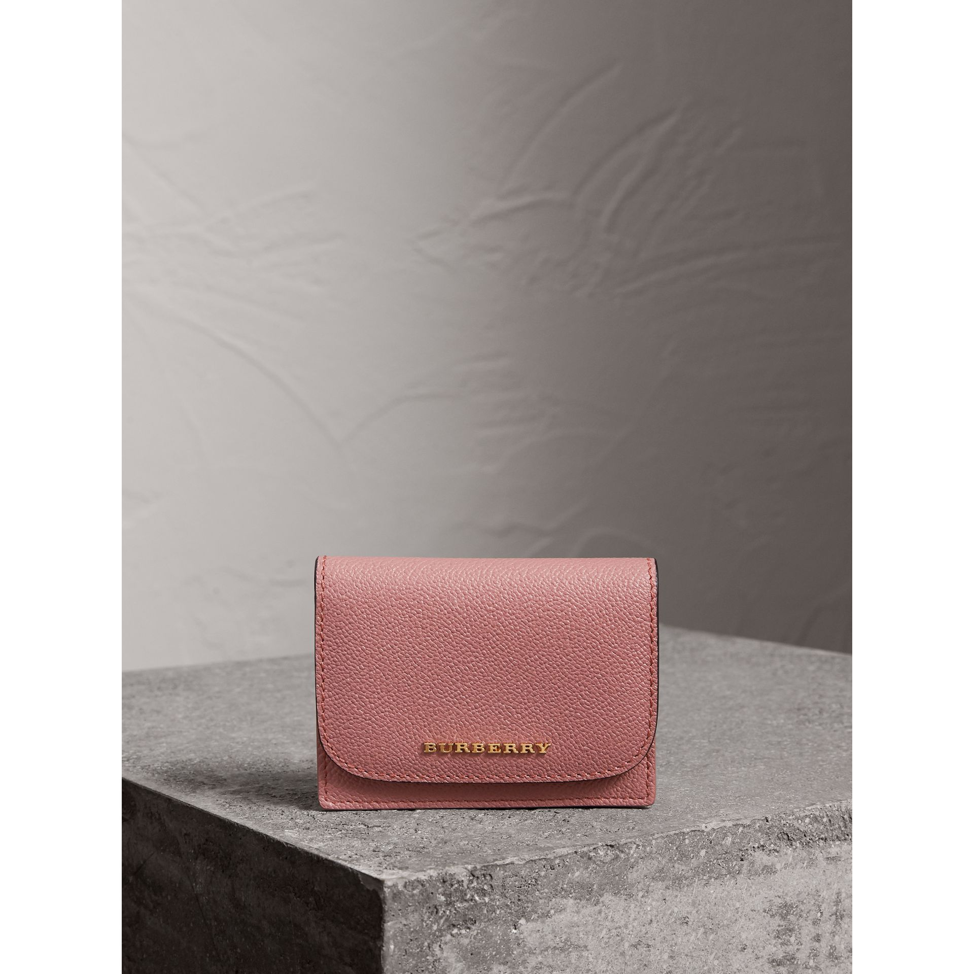 Grainy Leather Card Case in Dusty Pink - Women | Burberry - gallery image 4
