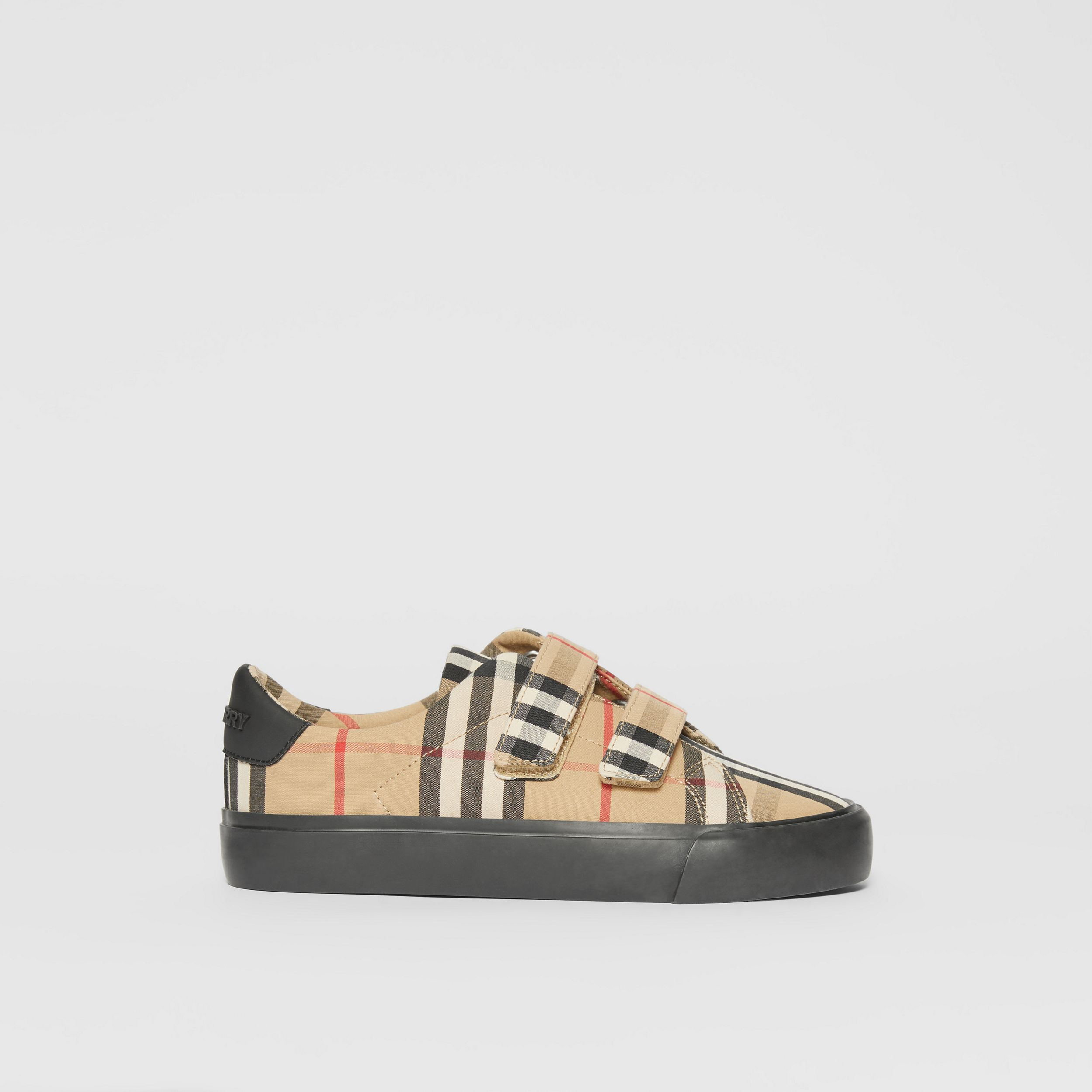 Vintage Check Cotton Sneakers in Archive Beige/black - Children | Burberry - 4
