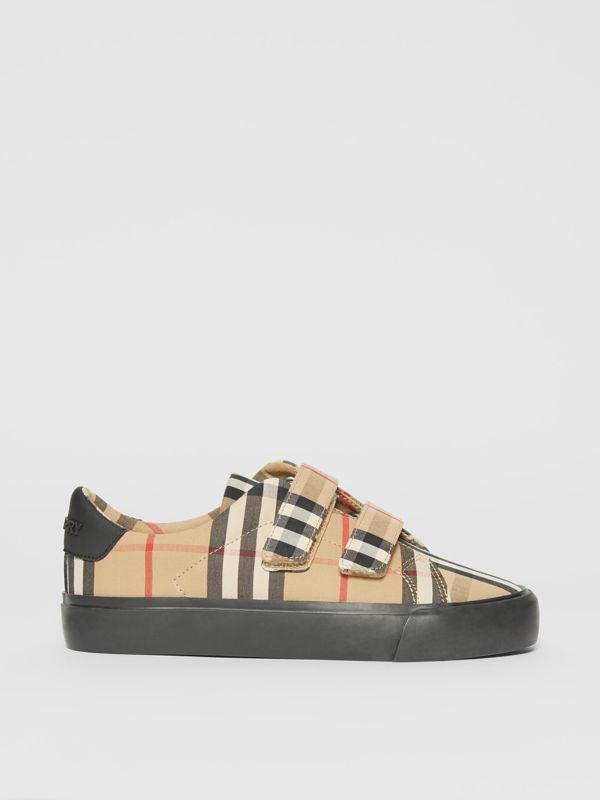 Vintage Check Cotton Sneakers in Archive Beige/black - Children | Burberry Singapore - cell image 3