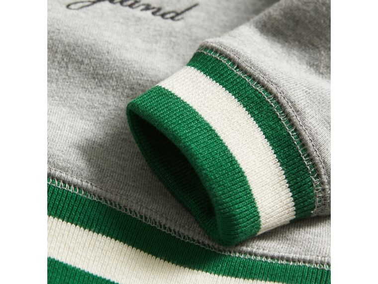 Contrast Stripe Embroidered Cotton Sweatshirt in Grey Melange | Burberry Australia - cell image 1