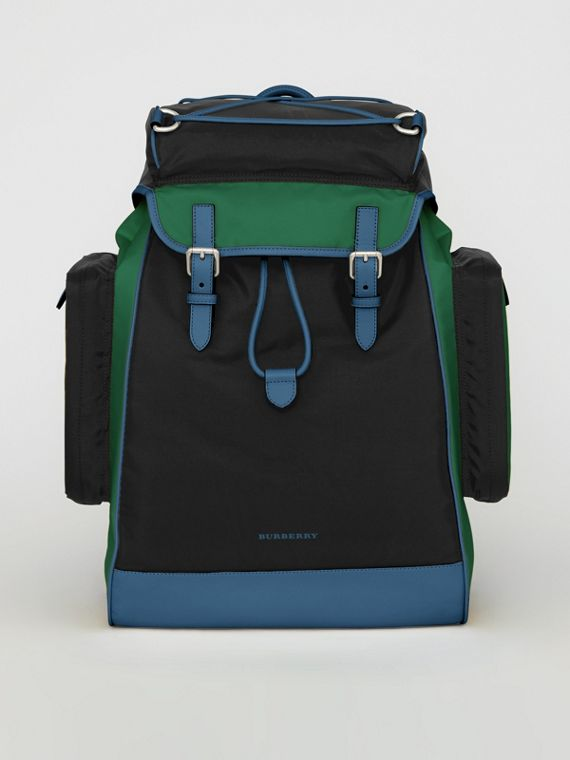 Tri-tone Nylon and Leather Backpack in Black