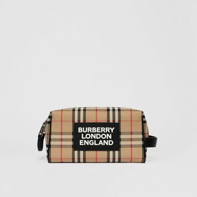 Logo Appliqué Vintage Check Travel Pouch by Burberry