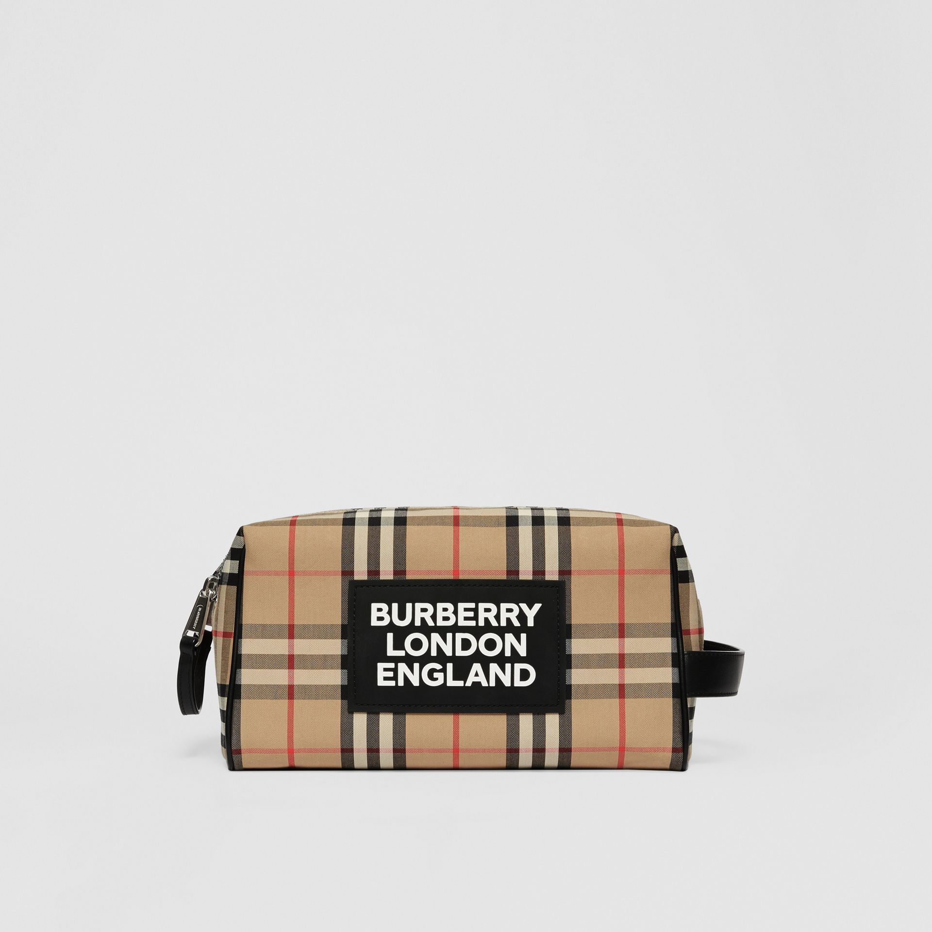 Logo Appliqué Vintage Check Travel Pouch in Archive Beige - Men | Burberry - gallery image 0
