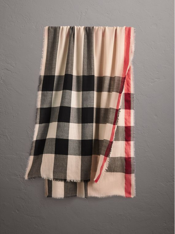 The Lightweight Check Cashmere Scarf in Stone
