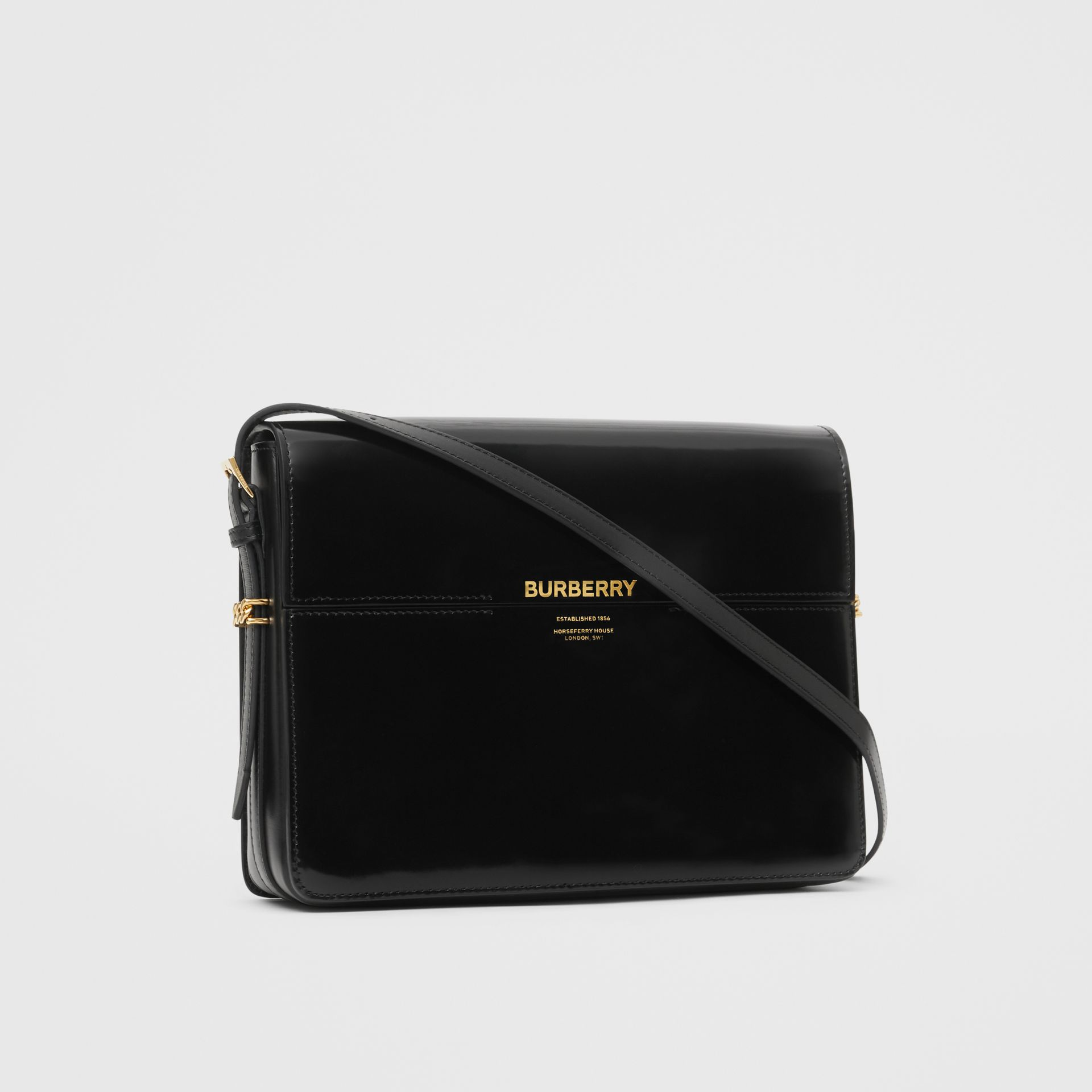 Large Patent Leather Grace Bag in Black - Women | Burberry - gallery image 6