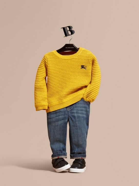 Waffle Knit Cotton Sweater Bright Yellow