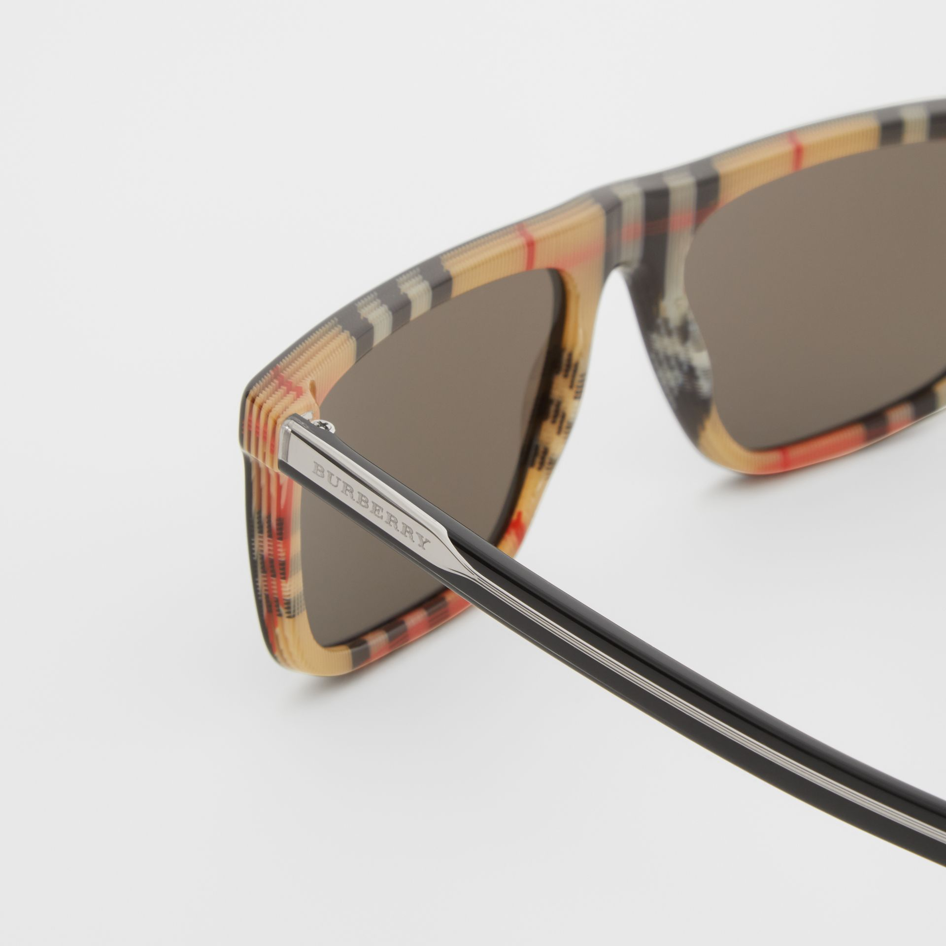 Vintage Check Detail Straight-brow Sunglasses in Antique Yellow - Men | Burberry Australia - gallery image 1
