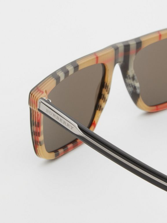 Vintage Check Detail Straight-brow Sunglasses in Antique Yellow - Men | Burberry - cell image 1
