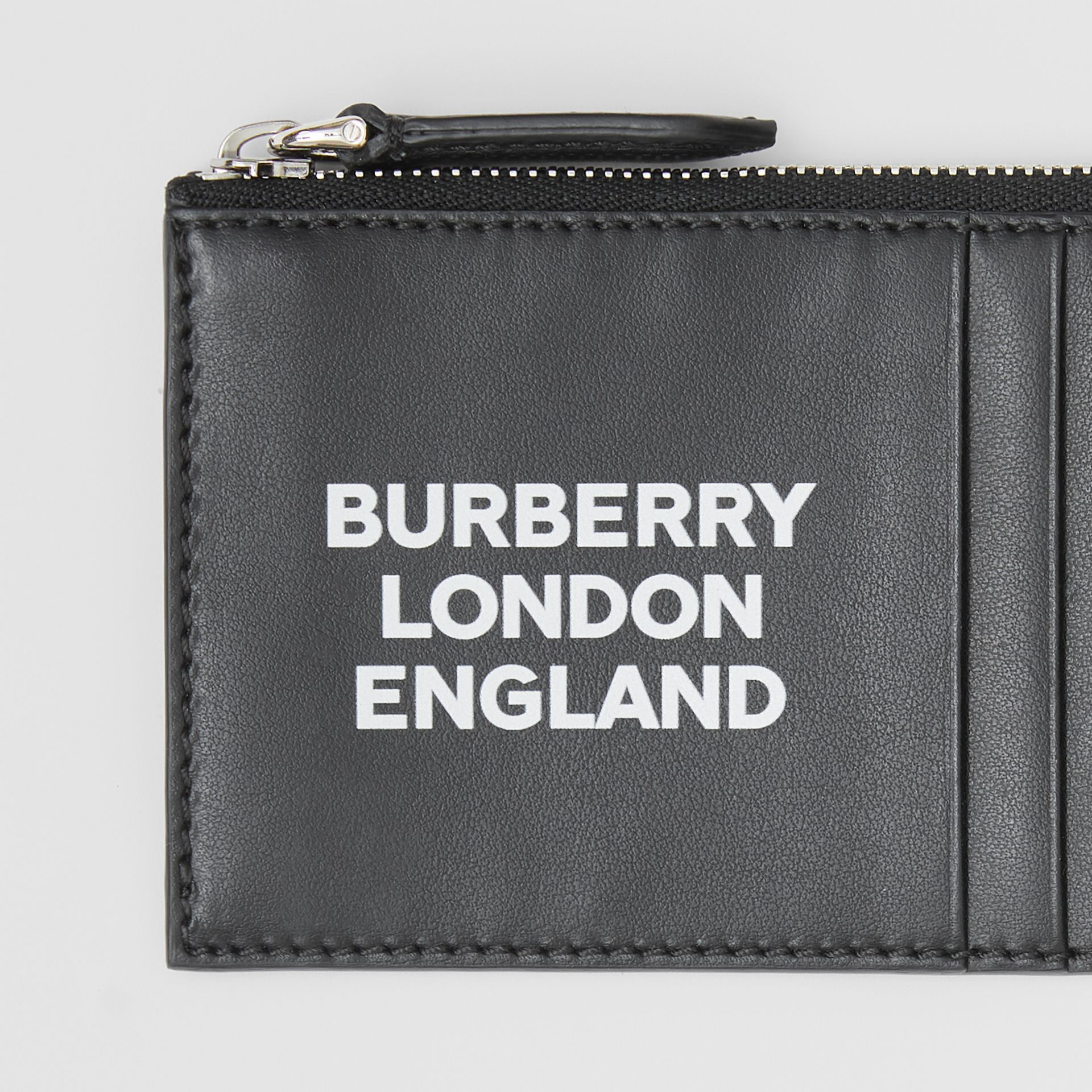Logo Print Leather Zip Card Case in Black - Men | Burberry Canada - gallery image 1