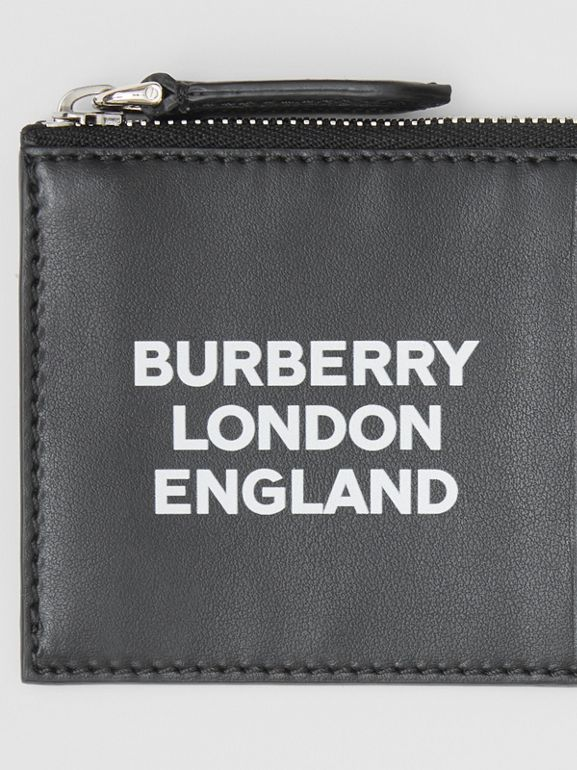 Logo Print Leather Zip Card Case in Black - Men | Burberry Canada - cell image 1