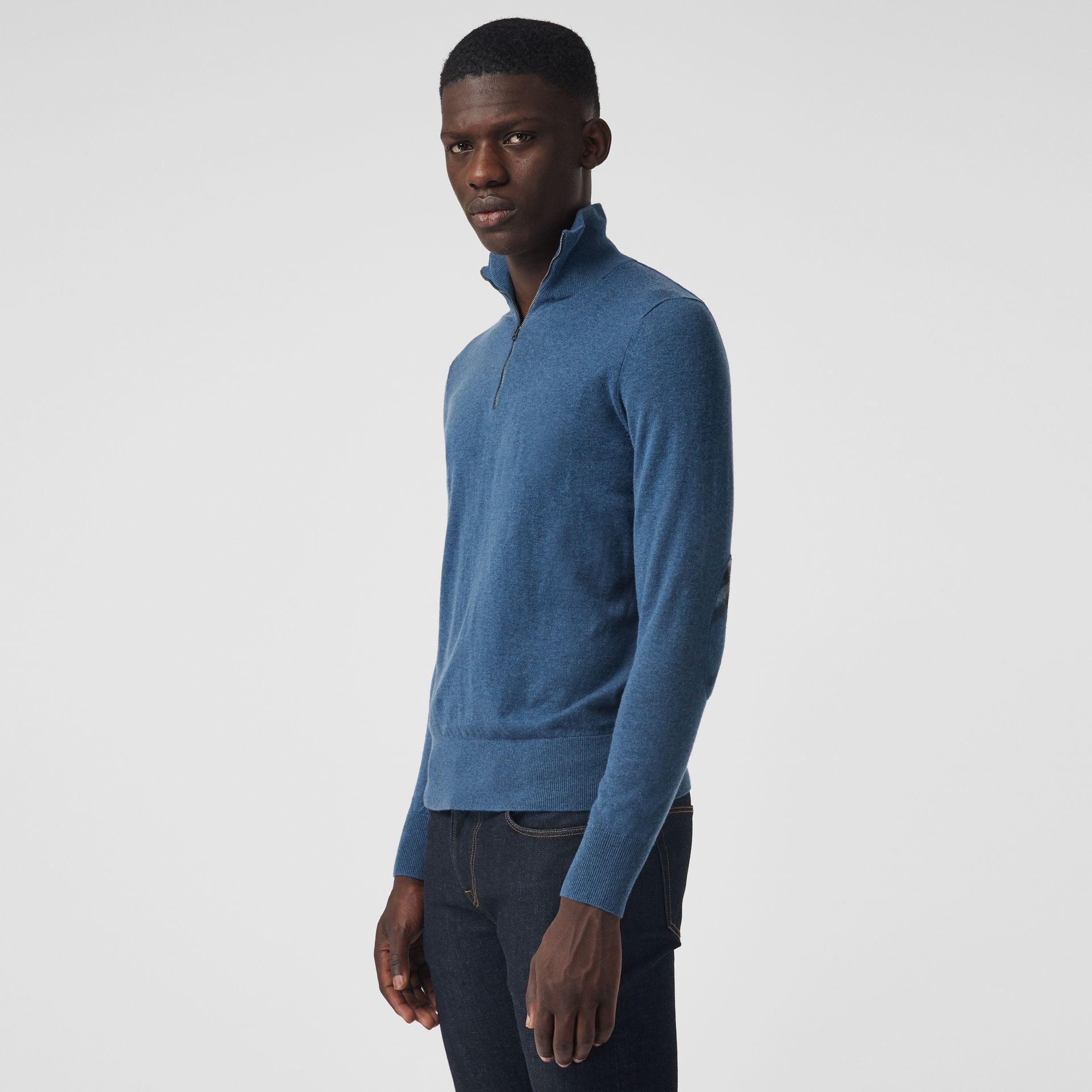 Zip-neck Cashmere Cotton Sweater in Steel Blue - Men | Burberry United States - gallery image 0