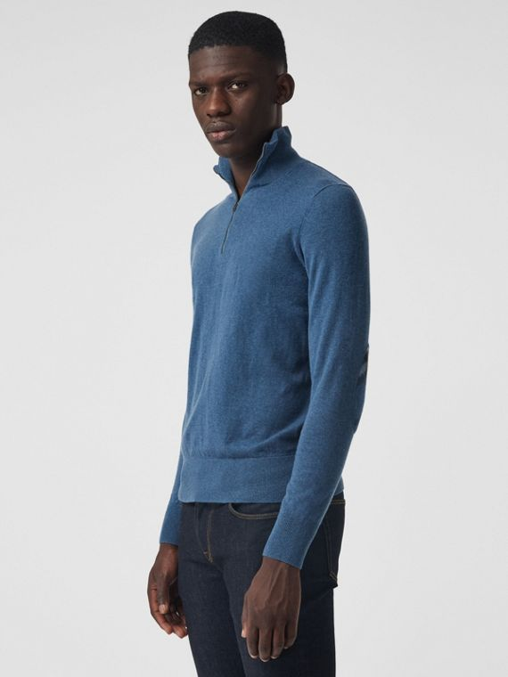 Zip-neck Cashmere Cotton Sweater in Steel Blue