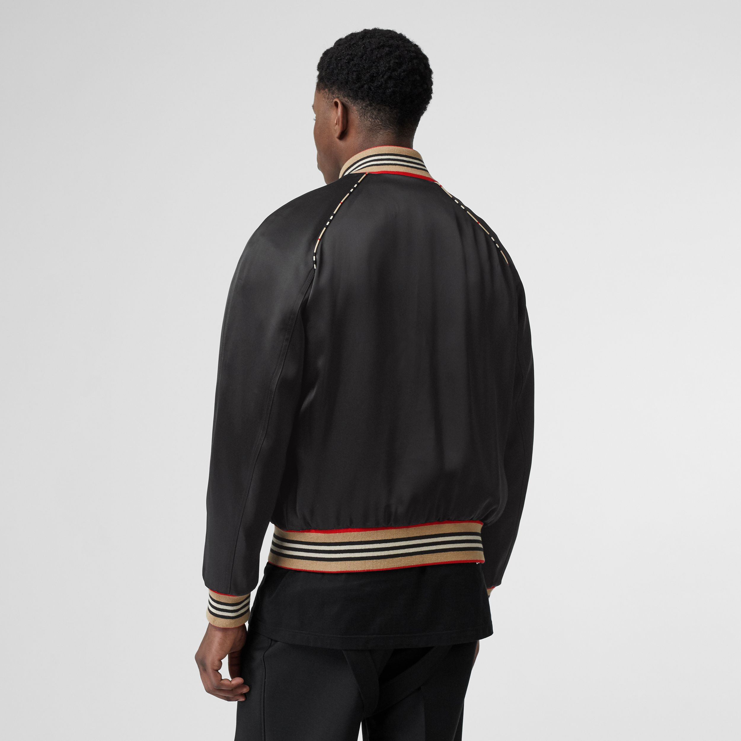 Icon Stripe Detail Monogram Motif Bomber Jacket in Black - Men | Burberry - 3