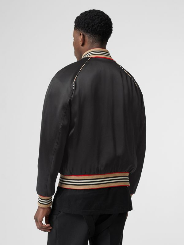 Icon Stripe Detail Monogram Motif Bomber Jacket in Black - Men | Burberry - cell image 2