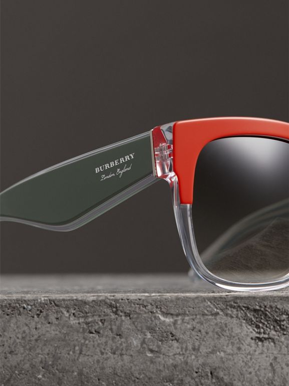 Two-tone Oversize Square Frame Sunglasses in Orange - Women | Burberry Singapore - cell image 1