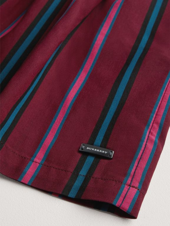 Striped Drawcord Dress in Burgundy | Burberry - cell image 1