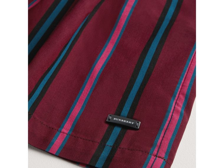 Striped Drawcord Dress in Burgundy - Girl | Burberry - cell image 1