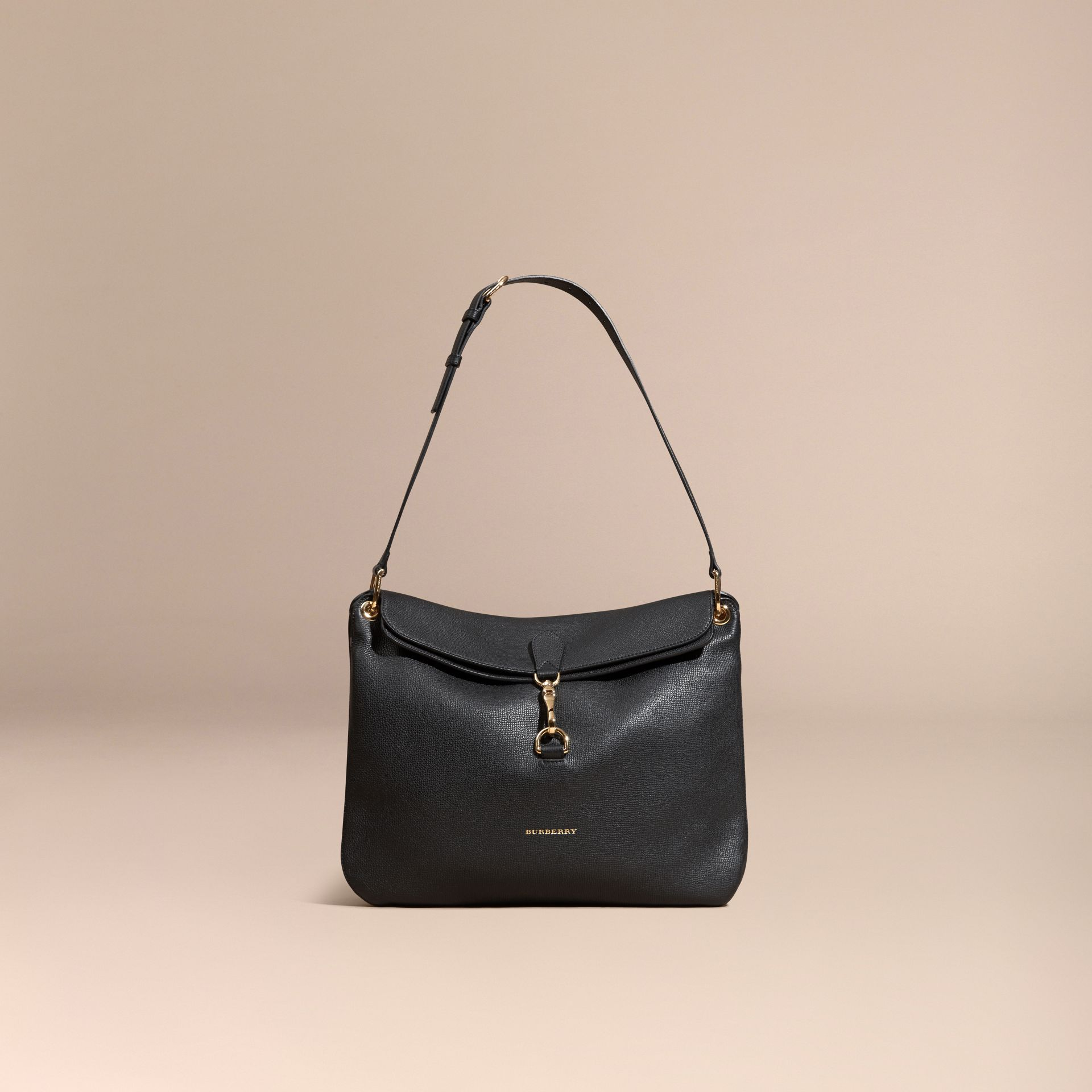 Black Grainy Leather and House Check Shoulder Bag Black - gallery image 8