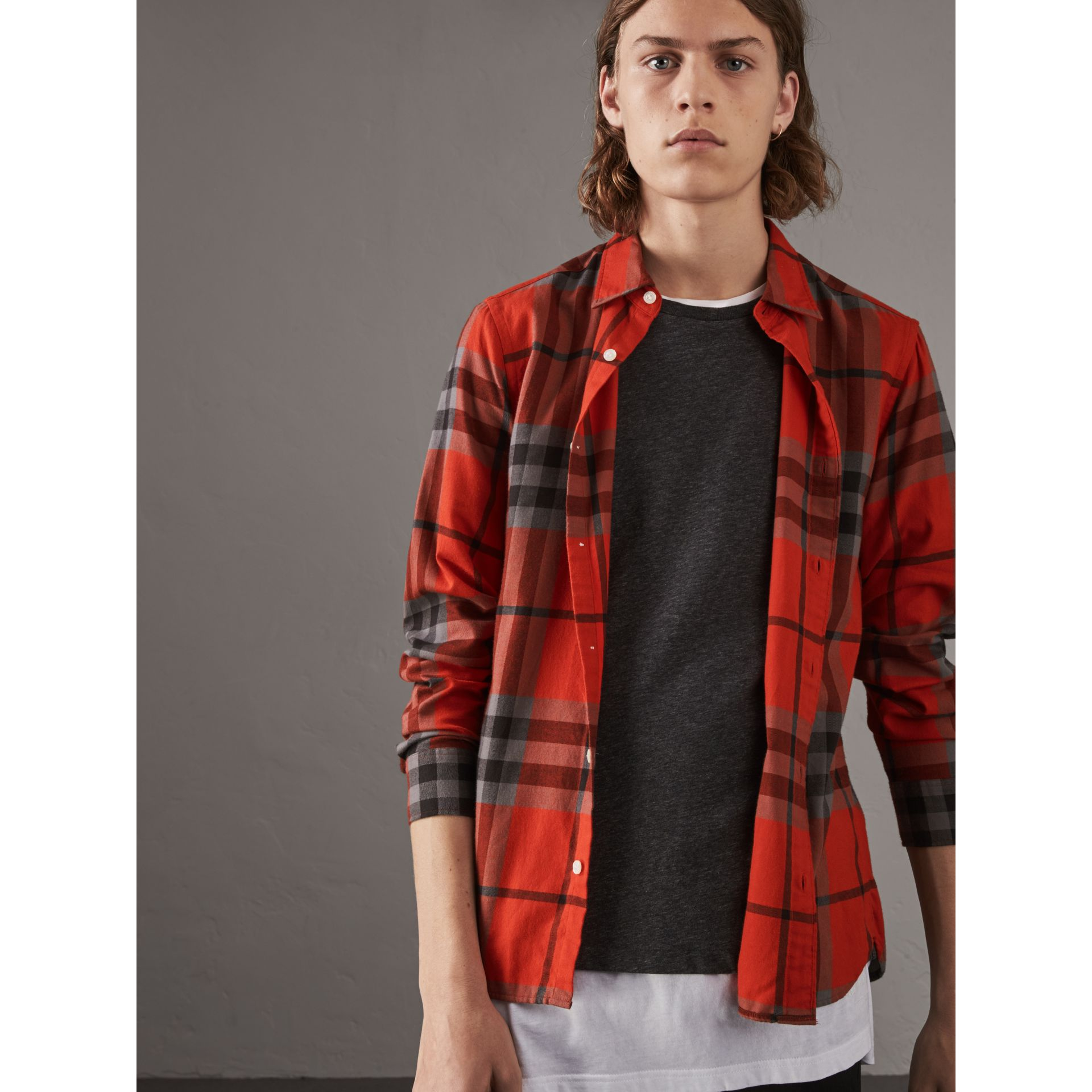 Check Cotton Flannel Shirt in Bright Red - Men | Burberry - gallery image 5