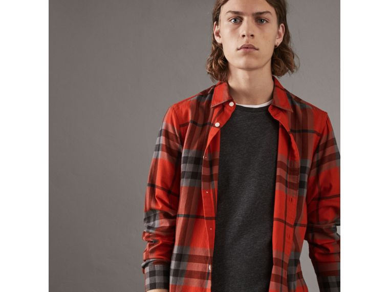 Check Cotton Flannel Shirt in Bright Red - Men | Burberry - cell image 4