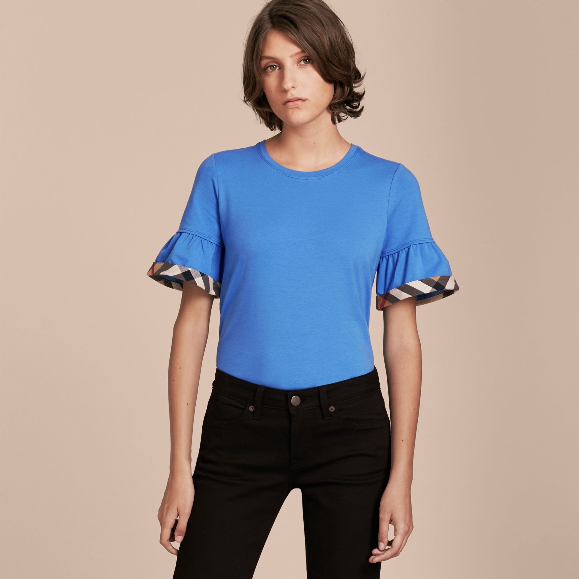 Stretch Cotton T-shirt with Check Trim Ruffles Bright Hydrangea Blue - gallery image 6