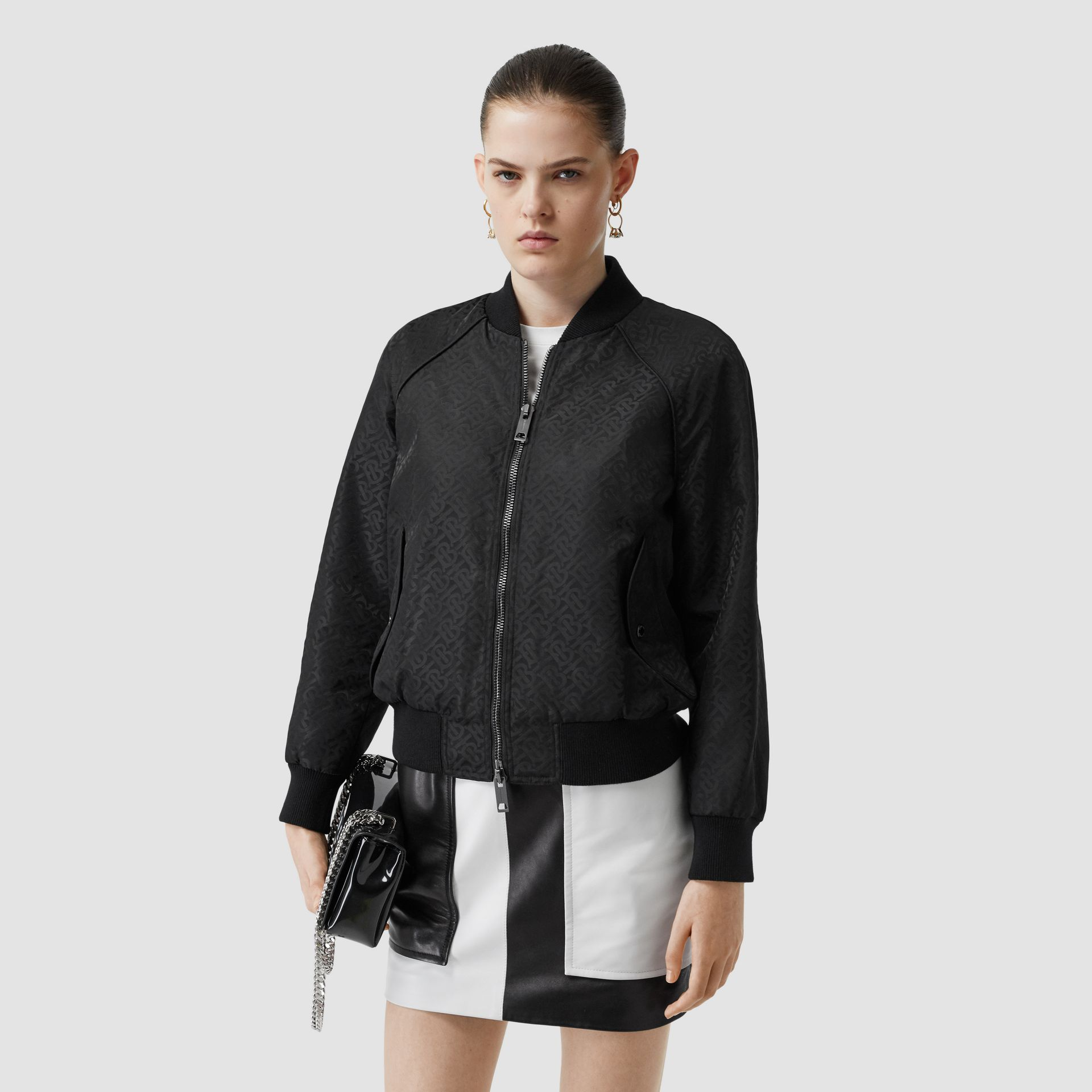 Monogram ECONYL® Jacquard Bomber Jacket in Black - Women | Burberry Hong Kong S.A.R - gallery image 0