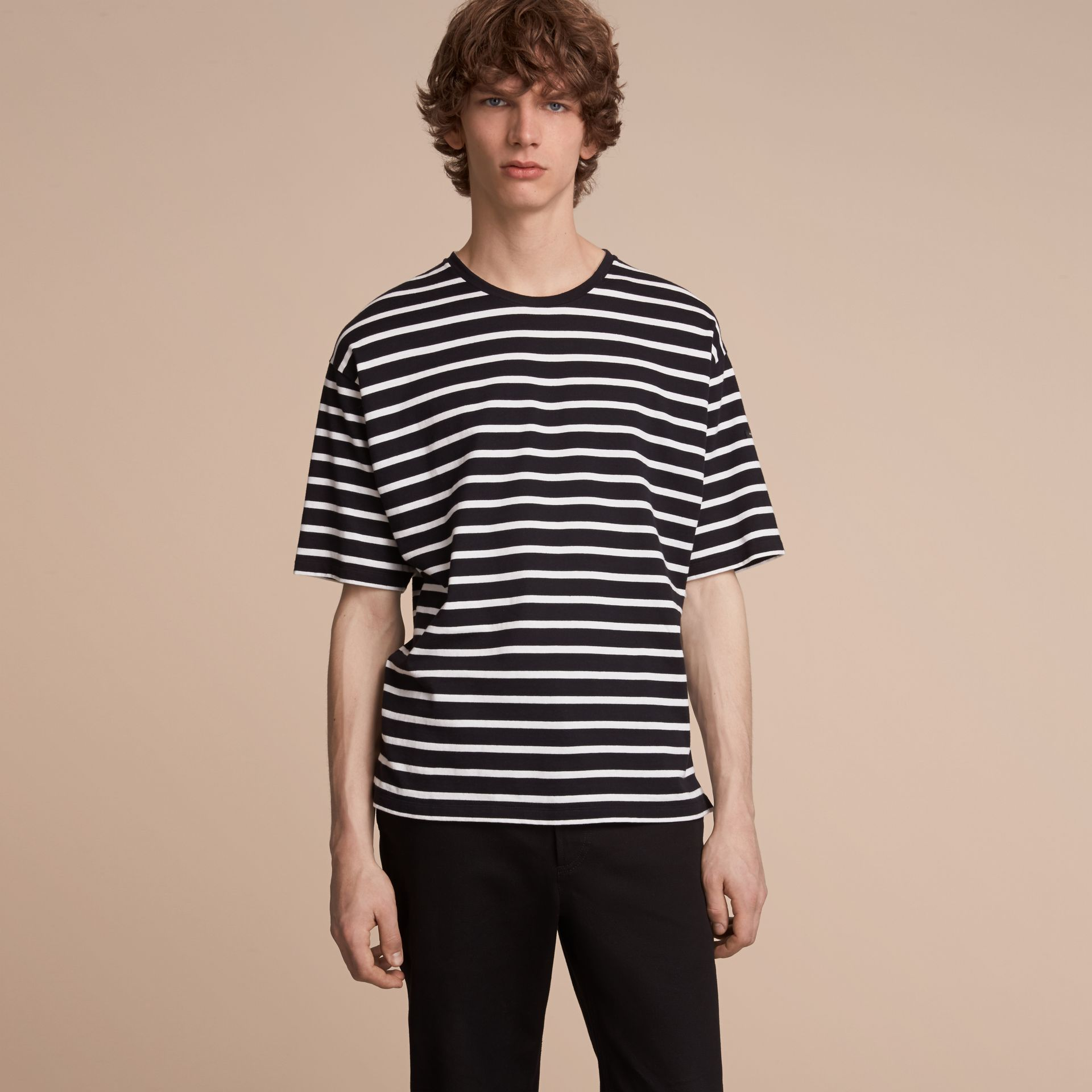 Striped Cotton Oversize T-shirt in Black/white - Men | Burberry - gallery image 6