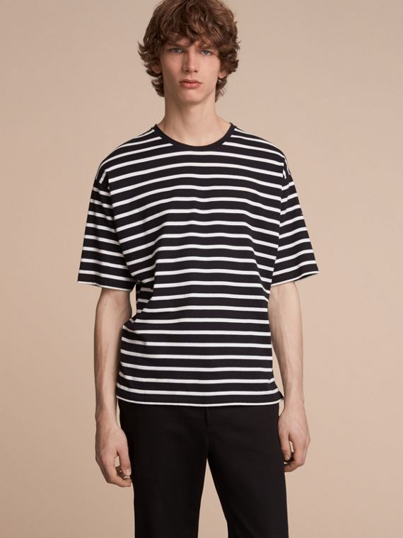 Striped Cotton Oversize T-shirt Black/white