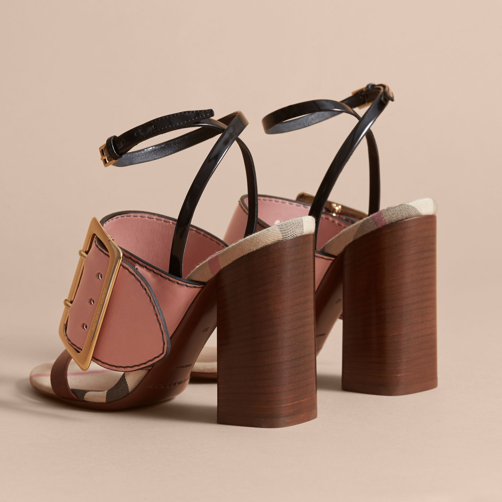 Buckle Detail Colour Block Leather Sandals in Nude Pink - Women | Burberry - gallery image 3