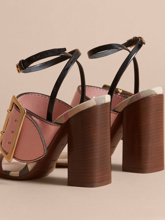 Buckle Detail Colour Block Leather Sandals in Nude Pink - Women | Burberry - cell image 3
