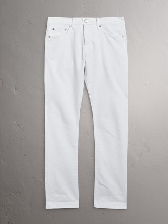 Straight Fit Stretch Japanese Denim Jeans in White - Men | Burberry - cell image 3