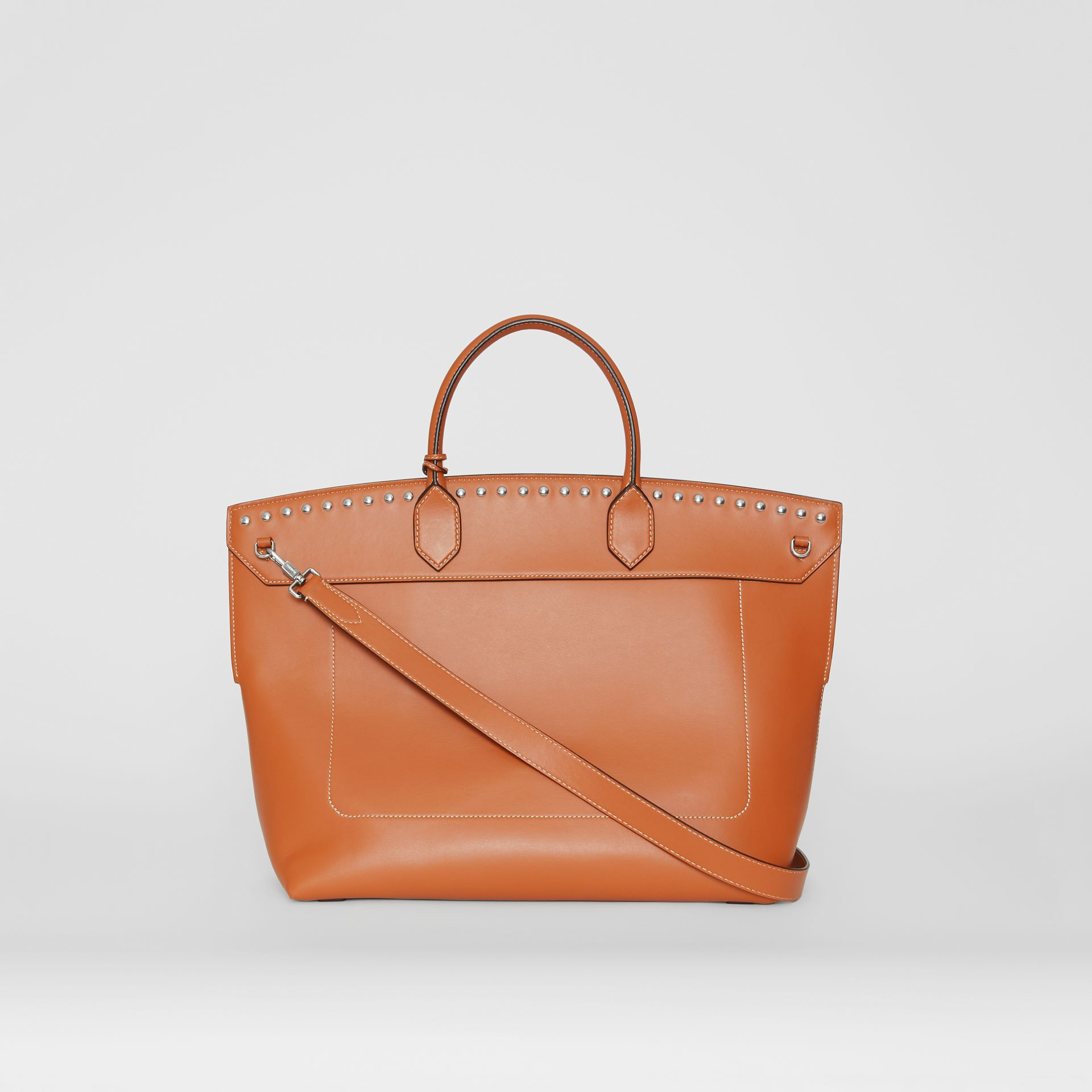 Studded Leather Society Top Handle Bag in Copper Brown - Women | Burberry - gallery image 7