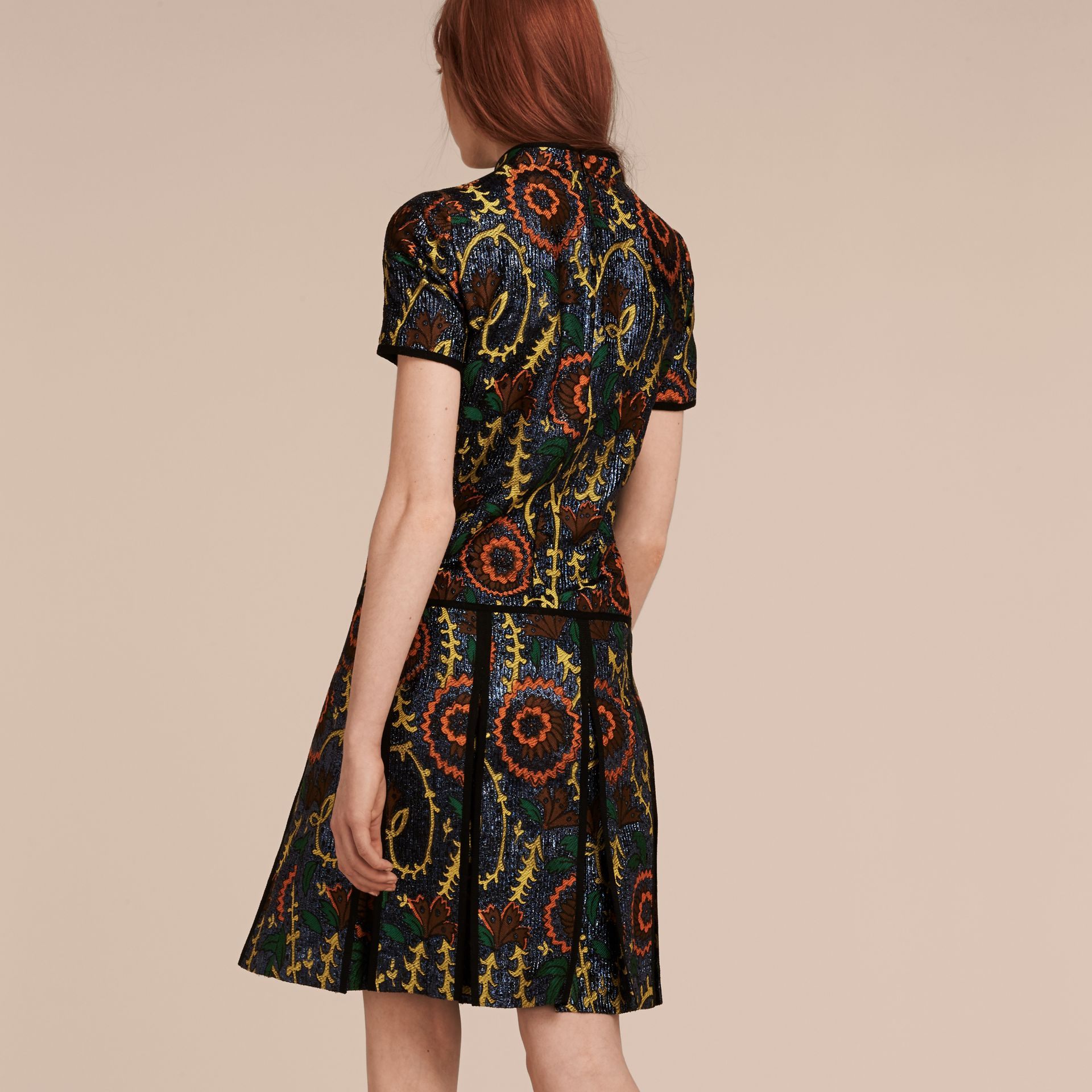 Bright navy Floral Jacquard Drop Waist Dress - gallery image 3