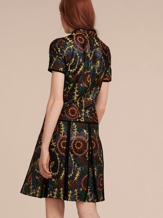 Bright navy Floral Jacquard Drop Waist Dress - cell image 2