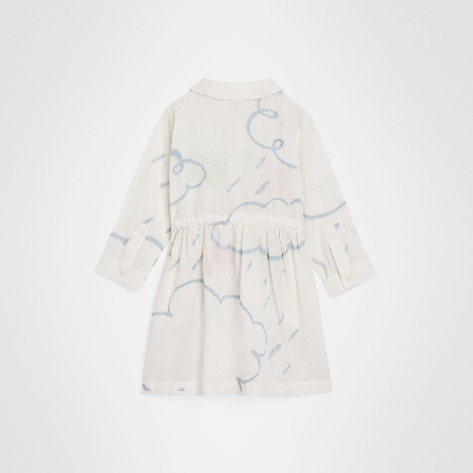 Weather Print Linen Cotton Shirt Dress in White - Children | Burberry - gallery image 3