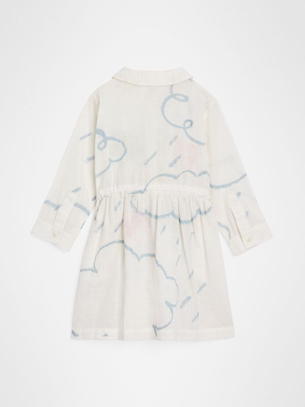 Weather Print Linen Cotton Shirt Dress in White - Children | Burberry - cell image 3