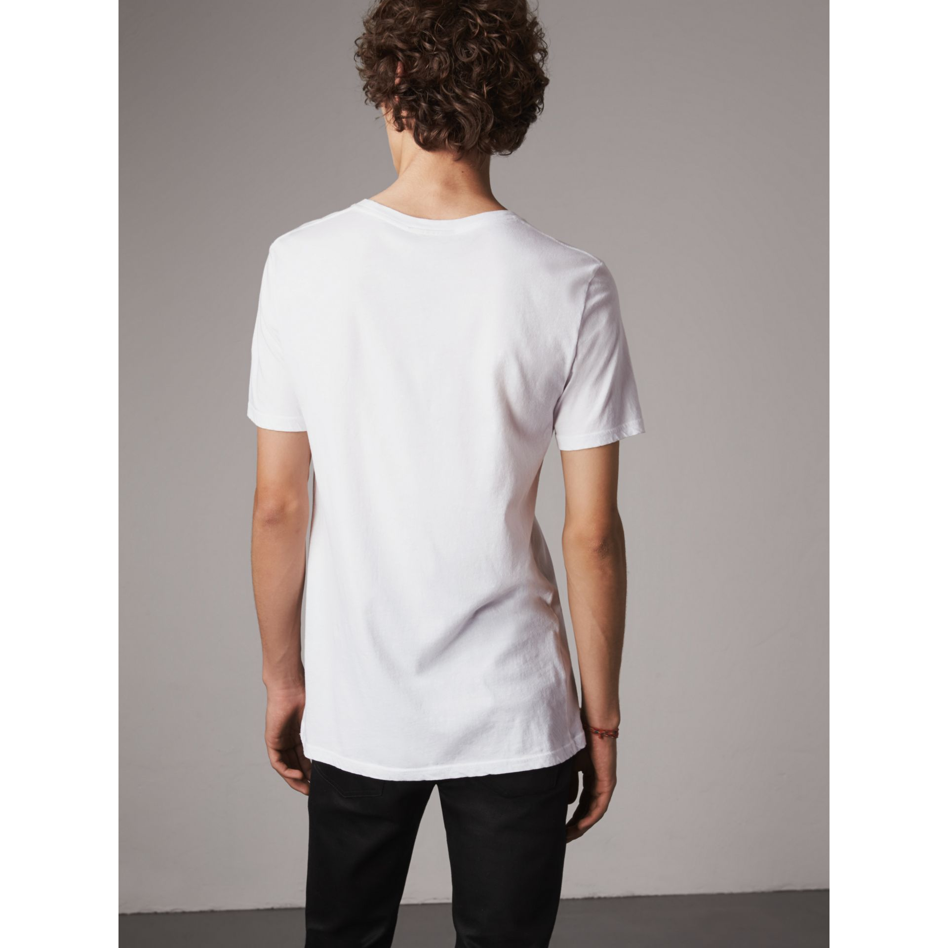 Doodle Print Cotton T-Shirt in White - Men | Burberry - gallery image 2