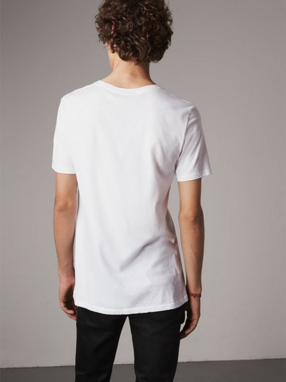 Doodle Print Cotton T-Shirt in White - Men | Burberry Singapore - cell image 2
