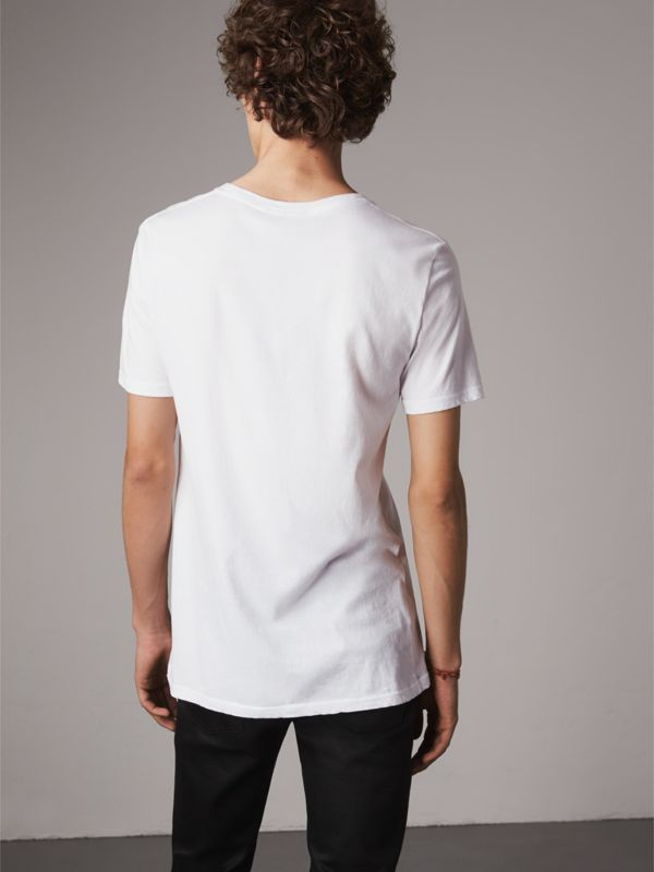 Doodle Print Cotton T-Shirt in White - Men | Burberry - cell image 2