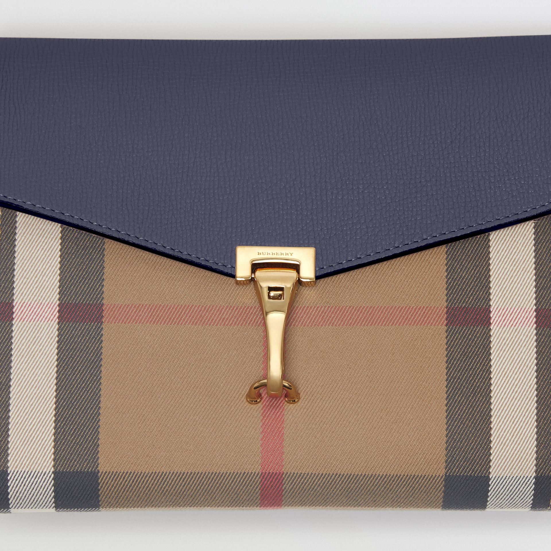 Small Leather and House Check Crossbody Bag in Ink Blue - Women | Burberry United Kingdom - gallery image 1