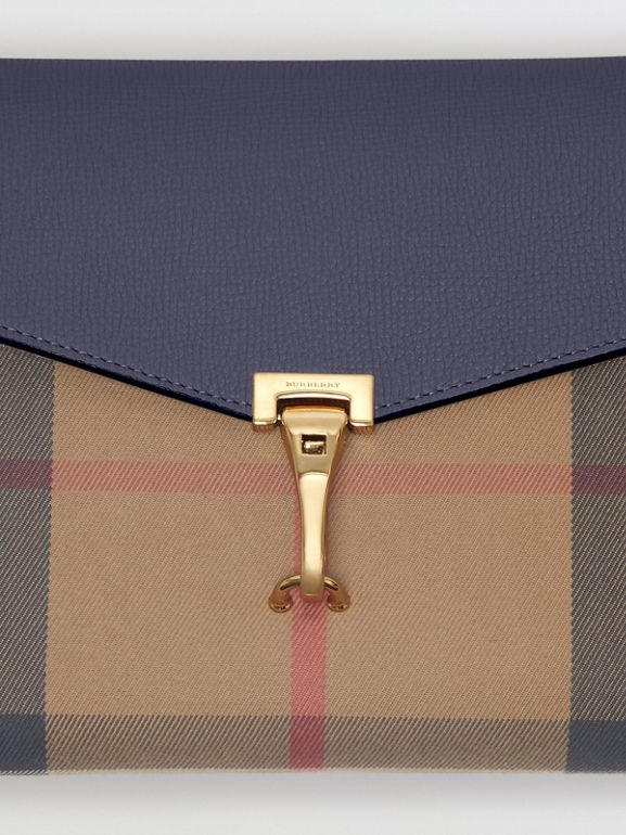Small Leather and House Check Crossbody Bag in Ink Blue - Women | Burberry - cell image 1