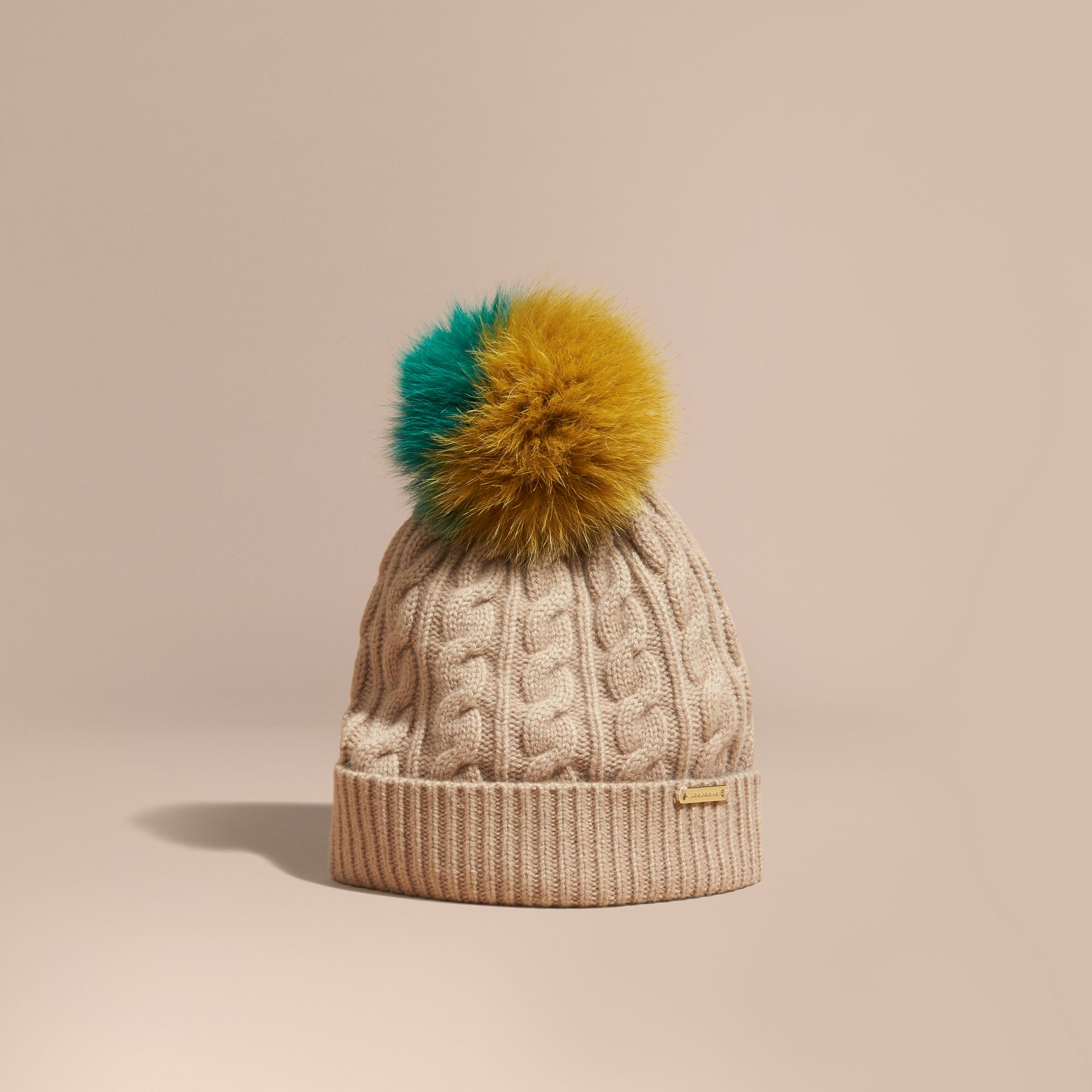 Wool Cashmere Beanie with Fur Pom-Pom in Camel - gallery image 1