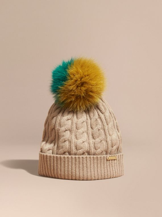 Wool Cashmere Beanie with Fur Pom-Pom Camel