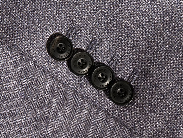 Airforce blue Slim Fit Wool Silk Linen Jacket - cell image 1