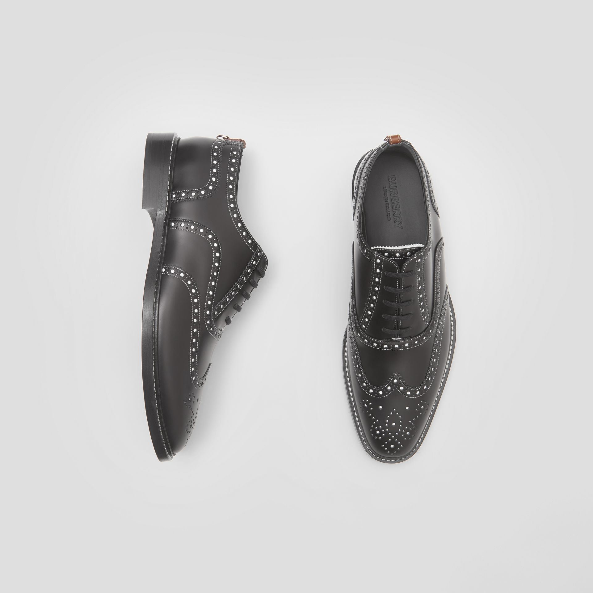 D-ring Detail Two-tone Leather Oxford Brogues in Black/white - Men | Burberry United Kingdom - gallery image 0