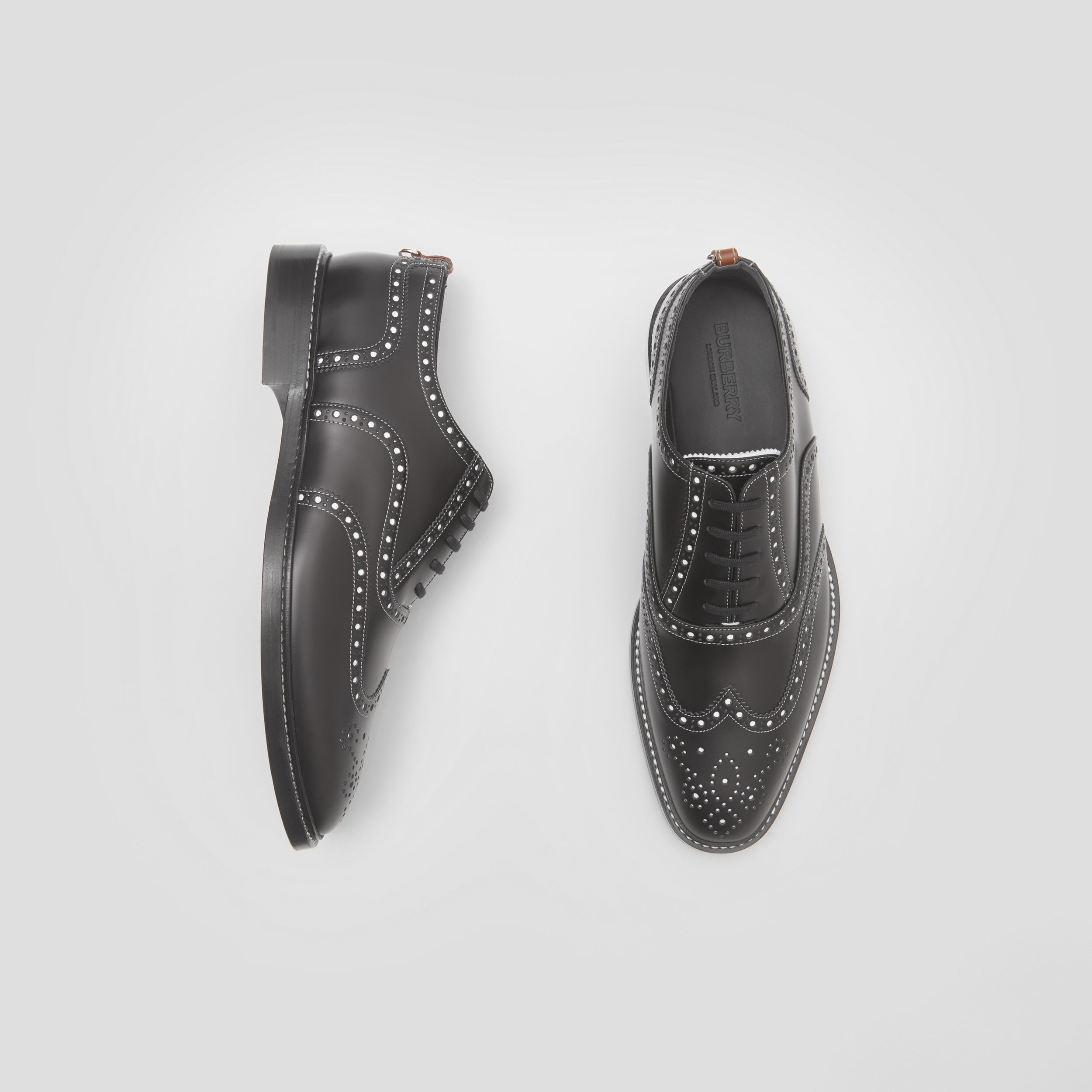 D-ring Detail Two-tone Leather Oxford Brogues in Black/white - Men | Burberry - 1