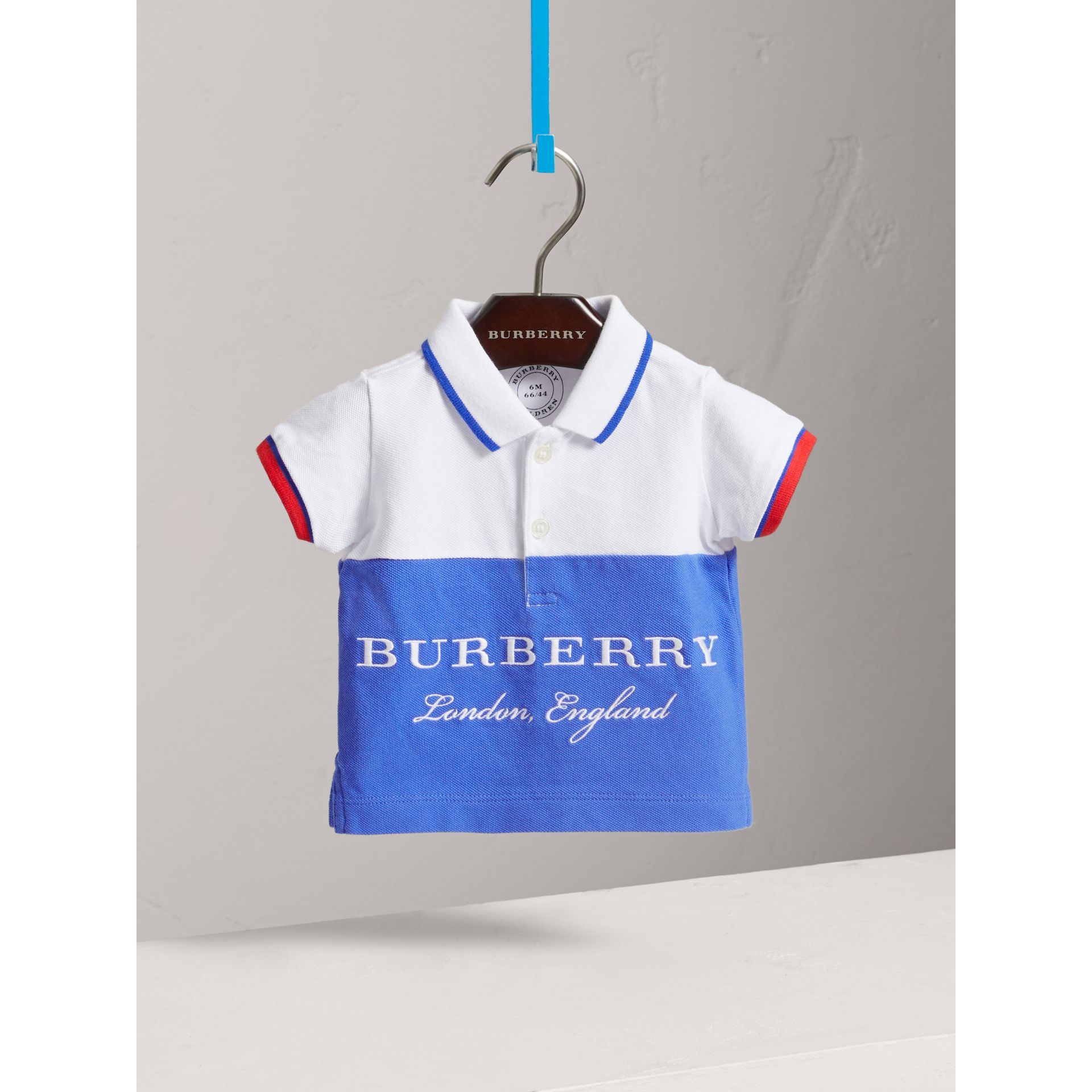 Tipped Cotton Piqué Polo Shirt in Cobalt Blue | Burberry United Kingdom - gallery image 0