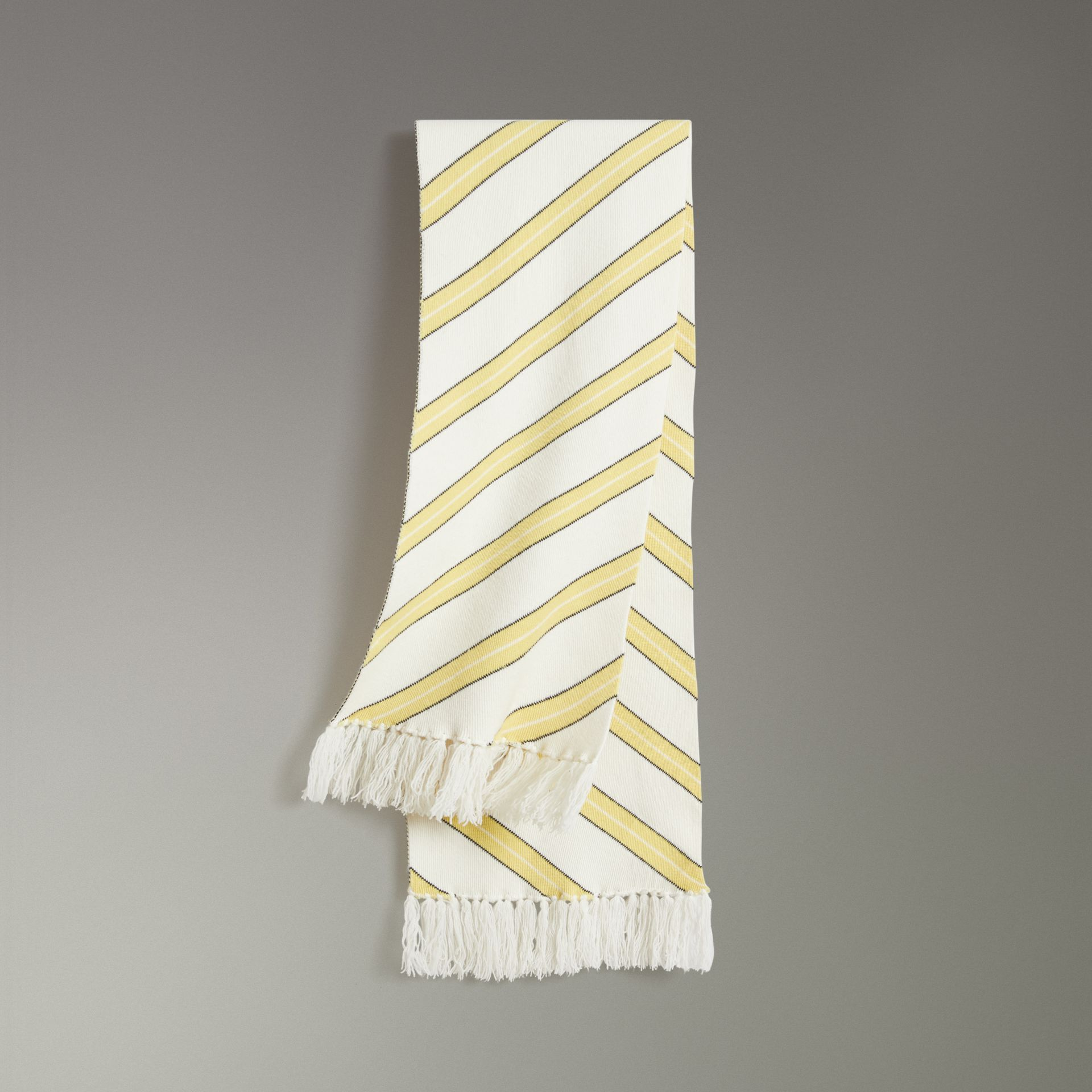 Tri-tone Striped Wool Cashmere Scarf in Natural White | Burberry United Kingdom - gallery image 0